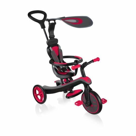 Paspirtukas - triratukas Globber Explorer Trike New Red (4 in 1)